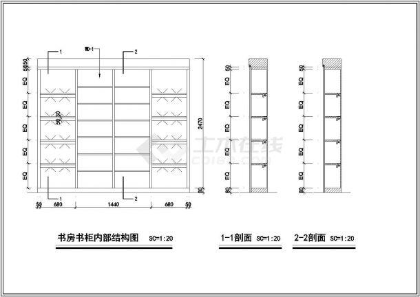 农村某多层联排别墅室内精装修cad设计施工图大样图-图二