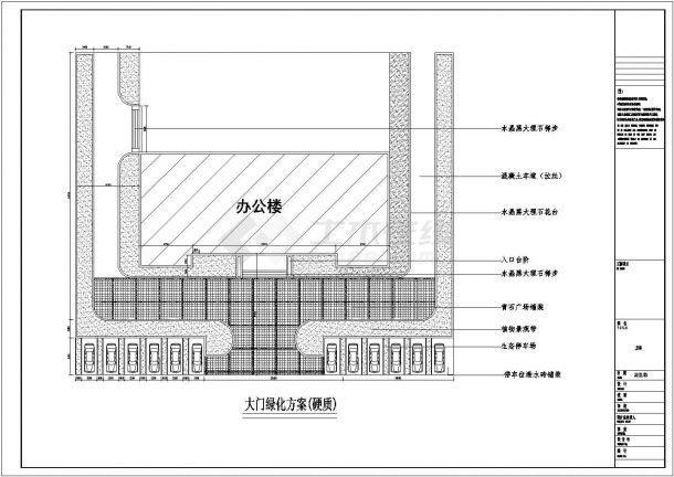 烟台市某市政单位的绿化及屋顶花园绿化平面设计CAD图纸-图二