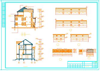 广州冠迪花园双连别墅建筑设计cad施工图纸-图二