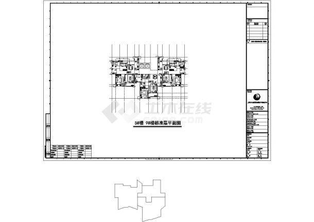 广州市御窑花园小区住宅楼标准平面设计图CAD图纸(1梯3户/72x2+64)-图一