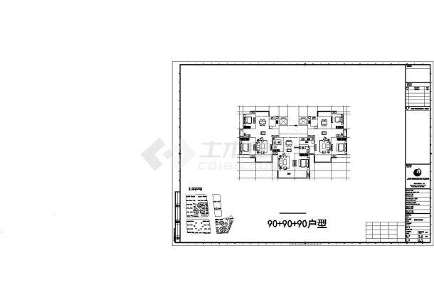 无锡踏水新居小区住宅楼标准平面设计图CAD图纸(1梯3户/105+91+104)-图一