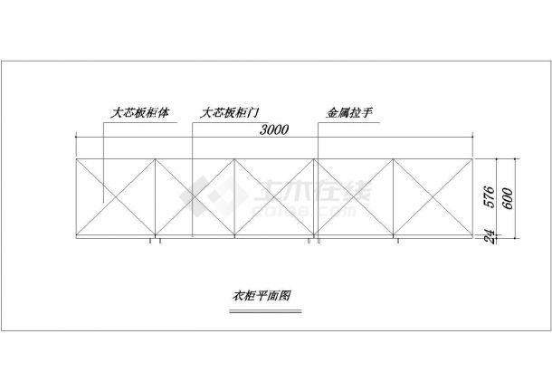洛阳主卧室衣柜详细底商私人住宅楼设计CAD详细建筑施工图-图二