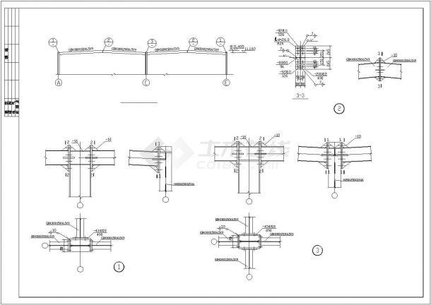 某产业园三层商业用钢框架建筑设计施工CAD图纸-图二