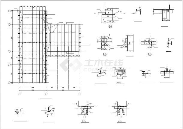 某产业园生产厂房钢结构工程设计施工CAD图纸-图一