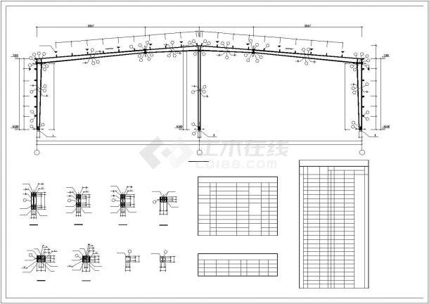 某产业园生产厂房门式钢架钢结构建筑设计施工CAD图纸-图二