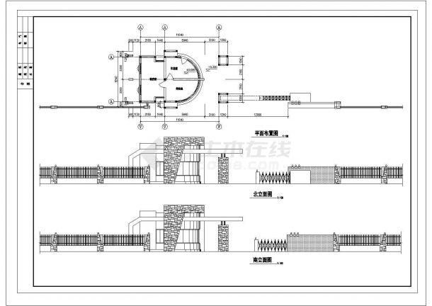 传达室 大门建筑方案CAD设计图-图一