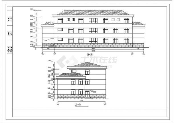 北京市某知名互联网公司3层砖混结构办公楼全套建筑设计CAD图纸-图二