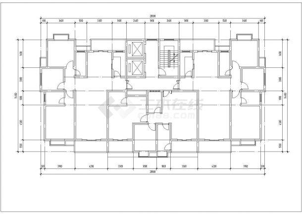 太原市丰利花园小区17层框架结构住宅楼建筑设计CAD图纸(含机房层)-图一