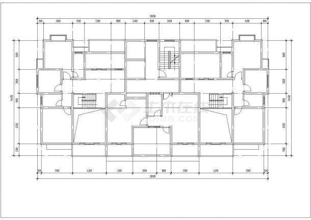 太原市丰利花园小区17层框架结构住宅楼建筑设计CAD图纸(含机房层)-图二
