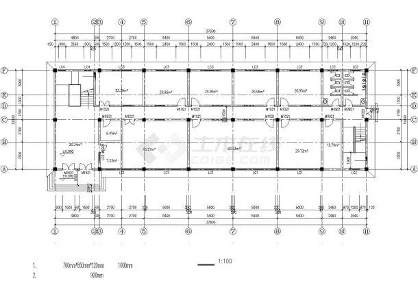 呼和浩特市某市政单位4层砖混结构办公楼平面设计CAD图纸-图一