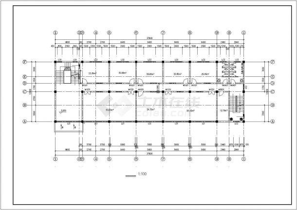 呼和浩特市某市政单位4层砖混结构办公楼平面设计CAD图纸-图二