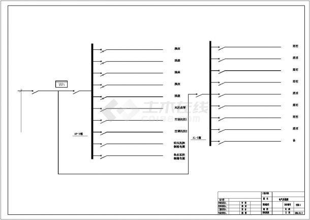 美容院电气照明布线设计方案CAD图-图一
