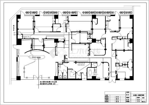 美容院电气照明布线设计方案CAD图-图二