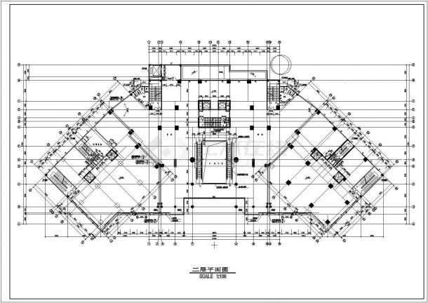 海丰广场建筑平面布置设计全套施工cad图-图二