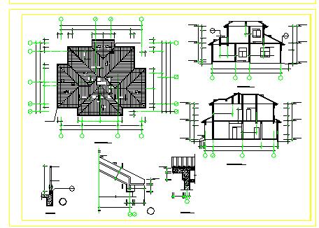 某砖混结构别墅建筑设计cad施工图纸-图一