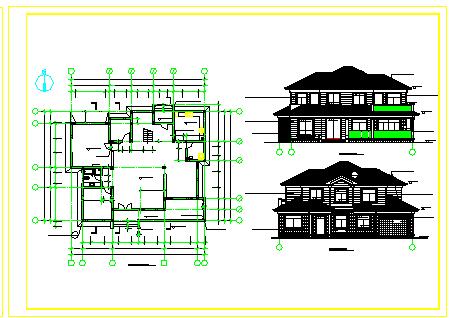 某砖混结构别墅建筑设计cad施工图纸-图二