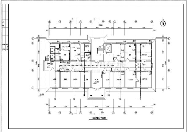 某地区4层医院综合楼给排水施工图-图一