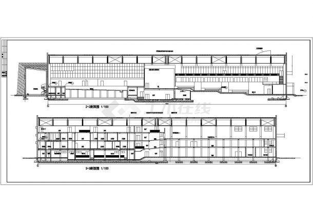 上海市大学2300平米钢结构体育馆全套建筑设计CAD图纸-图一