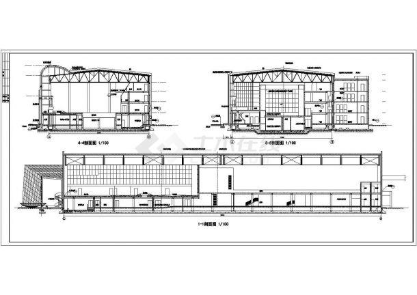 上海市大学2300平米钢结构体育馆全套建筑设计CAD图纸-图二