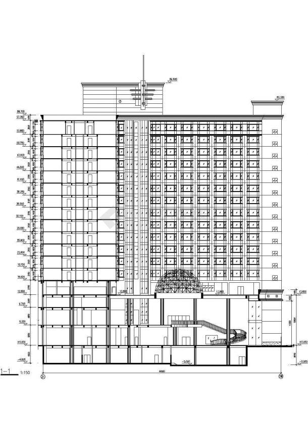 杭州市某临街1.4万平米16层框架结构星级酒店建筑设计CAD图纸-图一