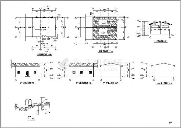 无锡市某度假村1300平米单层砖混结构观光餐厅全套建筑设计CAD图纸-图二