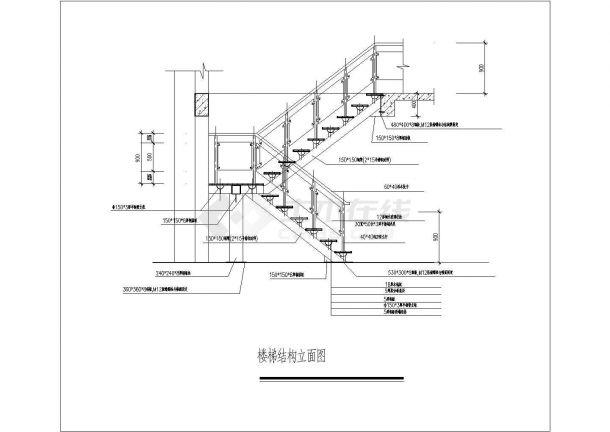 某住房钢结构公共楼梯施工cad详图-图一