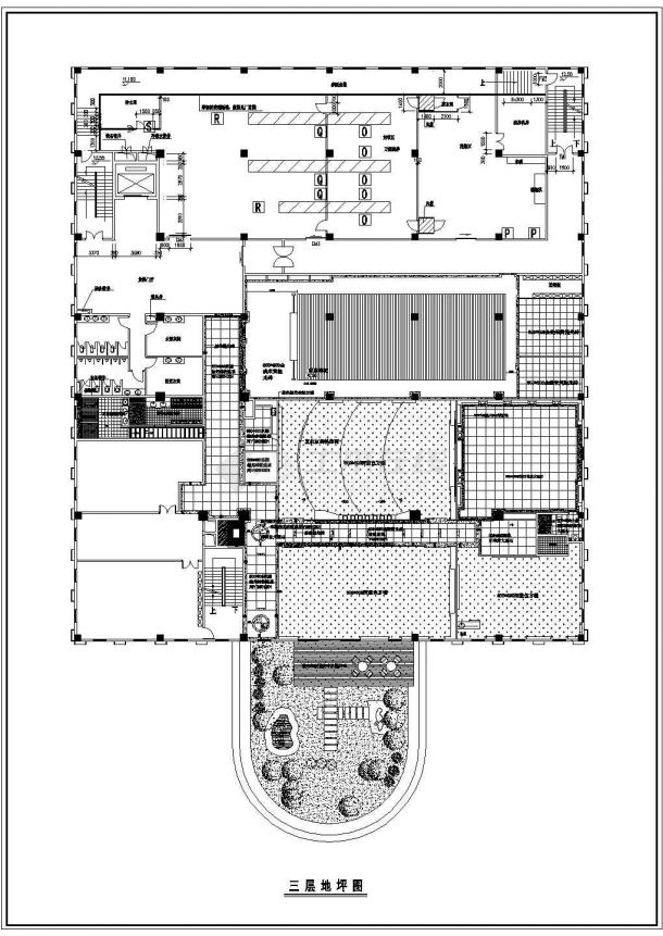 某工厂办公楼室内装修平面施工cad图-图一