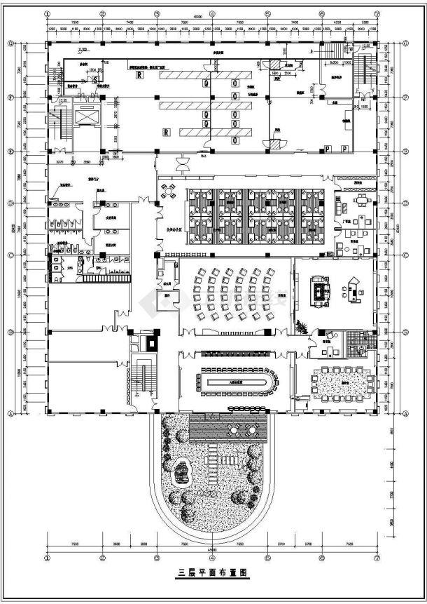 某工厂办公楼室内装修平面施工cad图-图二