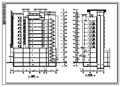 住宅楼设计_某市十二层带地下室商业住宅楼建筑施工cad图纸-图二