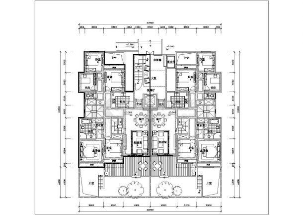 合肥欣冉花园小区6层砖混结构住宅楼全套平面设计CAD图纸(含跃层)-图二