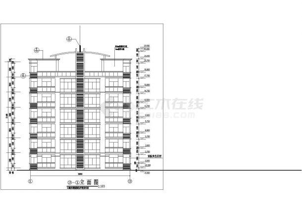 湘潭市建航花园小区7层砖混结构住宅楼建筑+结构设计CAD图纸-图二