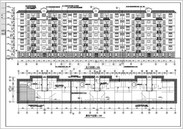 长沙市香雅花园小区6层砖混结构住宅楼建筑设计CAD图纸(含半地下室)-图一
