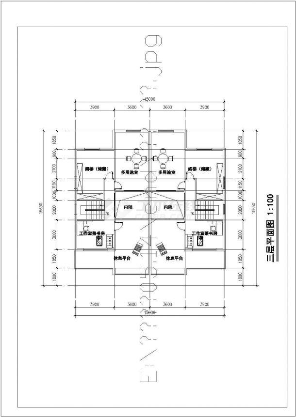 常州市荷丽家园小区三层砖混结构双拼别墅建筑设计CAD图纸(3套方案)-图二
