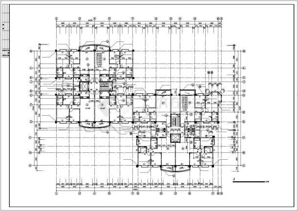 武汉市御江花园小区11+1层框混结构住宅楼平立剖面设计CAD图纸-图二