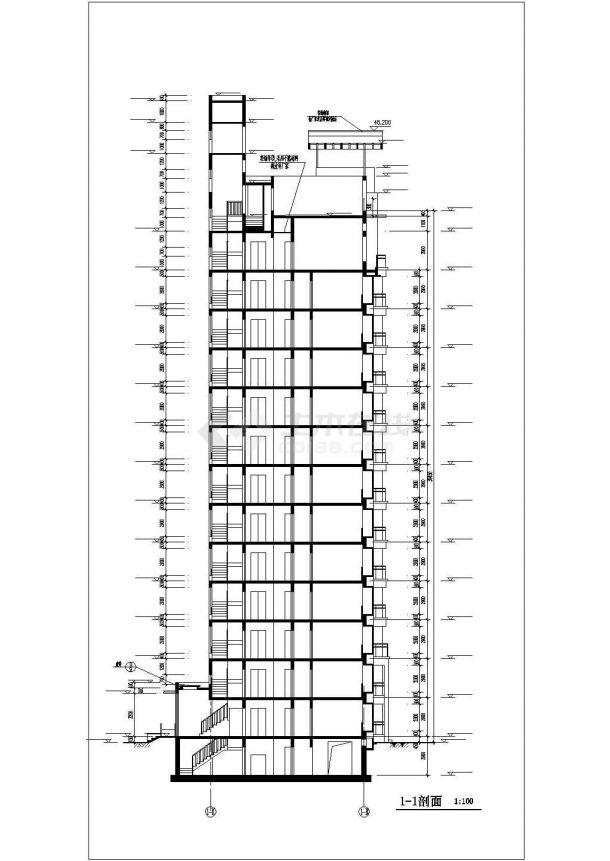 泰州市仁恒花园小区14层框架结构住宅楼建筑设计CAD图纸(含地下层)-图二