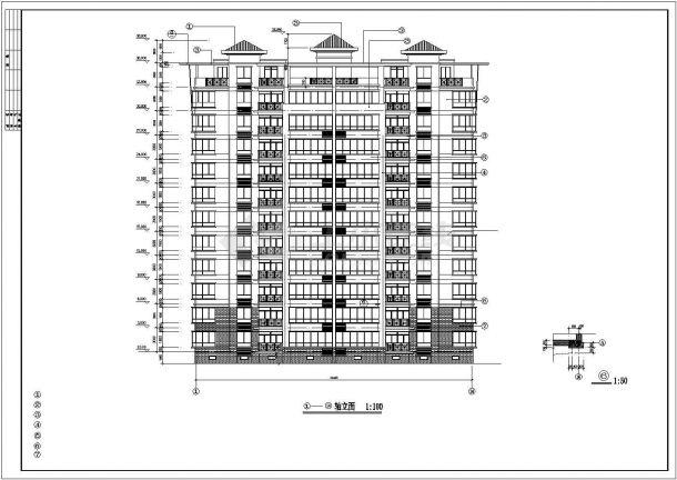 南京市象湾花园小区11层框架结构住宅楼建筑设计CAD图纸(含半地下室)-图一