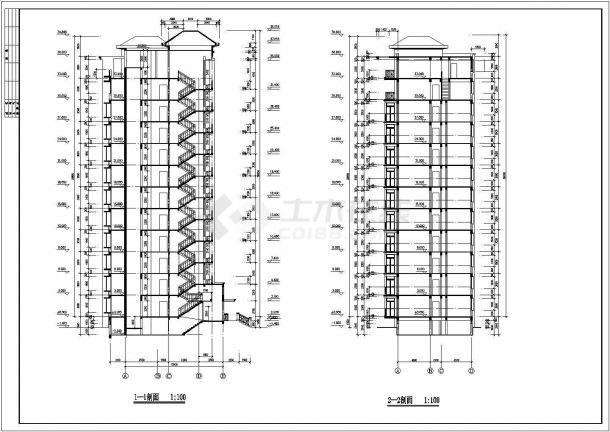 南京市象湾花园小区11层框架结构住宅楼建筑设计CAD图纸(含半地下室)-图二