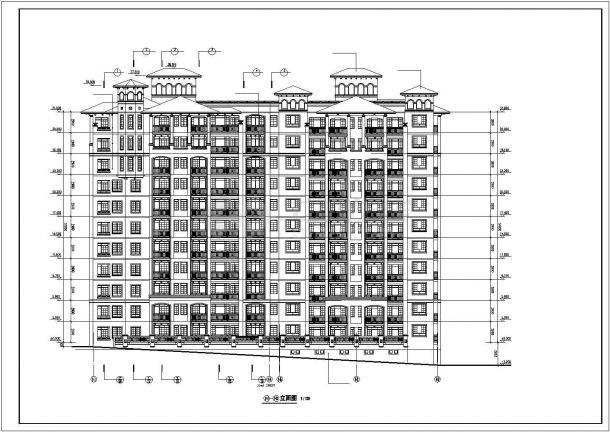 伊春市燕山花园小区11层框架结构住宅楼立面设计CAD图纸-图二
