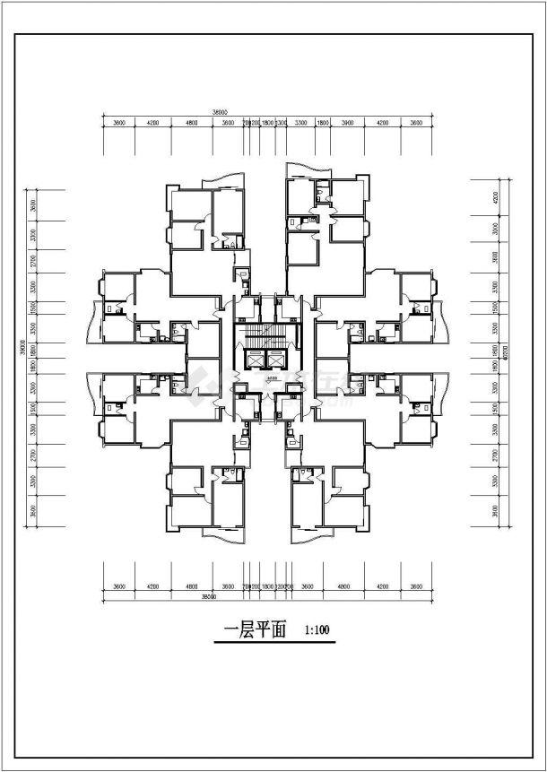 滁州市银泉花园小区25层剪力墙结构公寓住宅楼平立面设计CAD图纸-图一