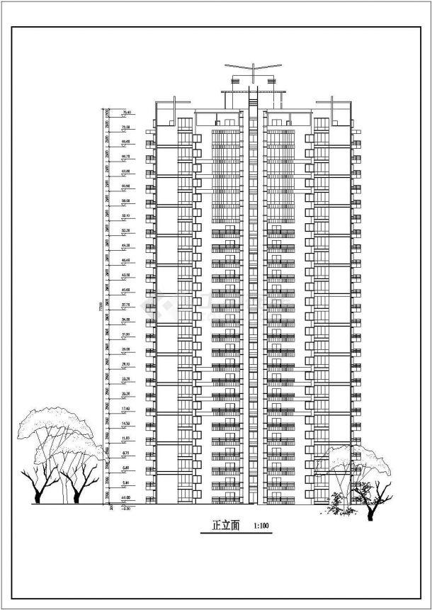 滁州市银泉花园小区25层剪力墙结构公寓住宅楼平立面设计CAD图纸-图二