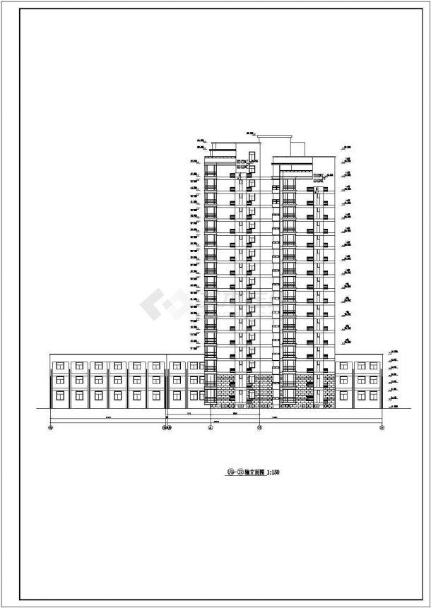 衢州市祥源家园小区1.2万平米18层异形框剪结构住宅楼建筑设计CAD图纸-图一