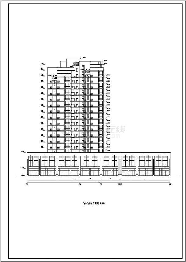 衢州市祥源家园小区1.2万平米18层异形框剪结构住宅楼建筑设计CAD图纸-图二