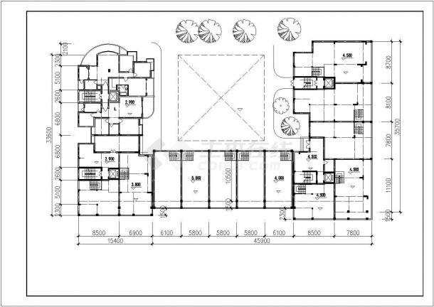 汾阳市桔园新村小区11层框架结构商住楼建筑设计CAD图纸(1-2层商用)-图一