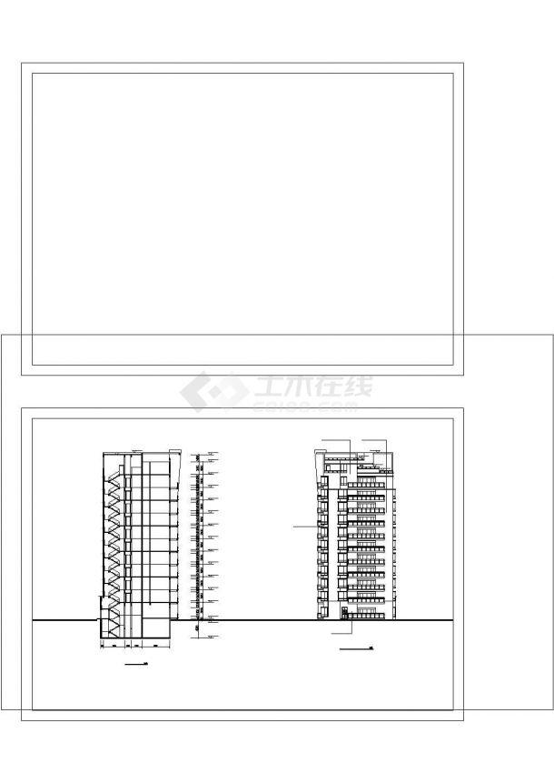 西安市鼓楼花园小区3栋12层联立式框架结构住宅楼平立面设计CAD图纸-图一