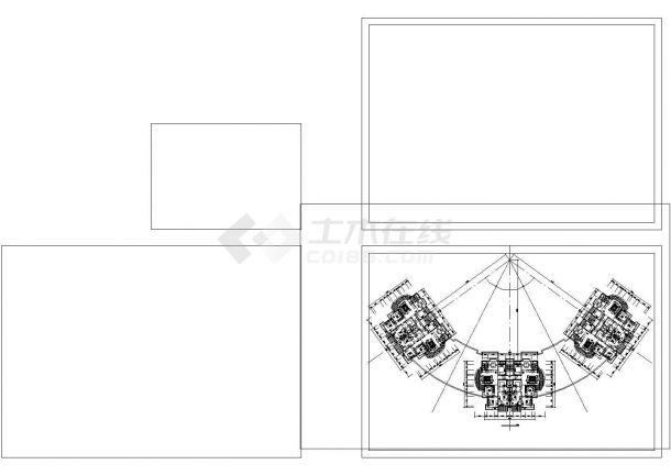 西安市鼓楼花园小区3栋12层联立式框架结构住宅楼平立面设计CAD图纸-图二