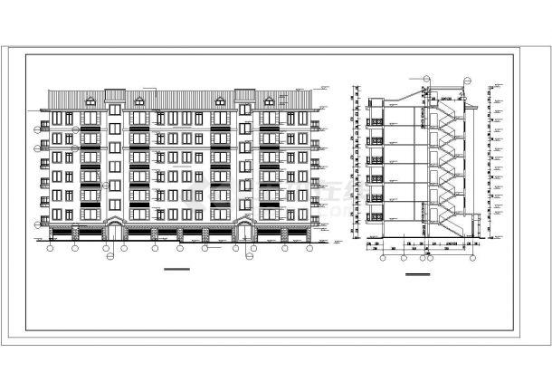 抚顺沁林花园小区3040平6层砖混结构住宅楼建筑设计CAD图纸(含阁楼)-图一