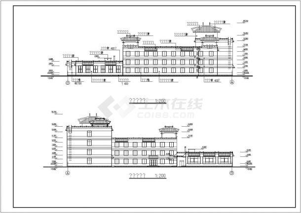 某学校多层框架结构教学楼设计cad全套建筑施工图(含设计说明,含宿舍楼及食堂设计,含总平面图)-图二