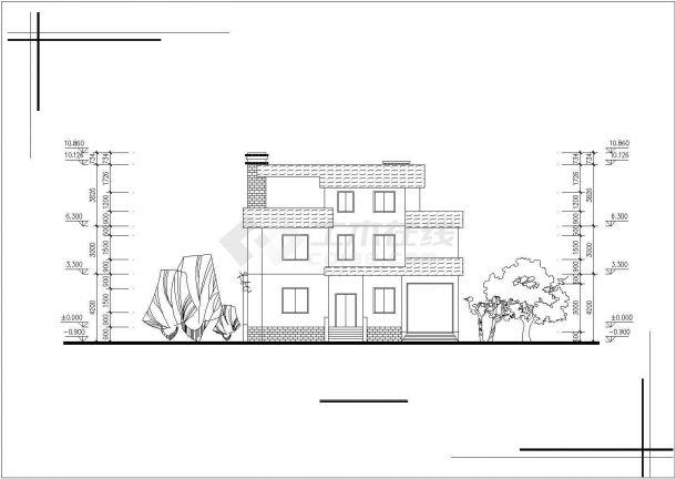 昆山市某现代村镇3层砖混结构单体乡村别墅建筑设计CAD图纸(2套方案)-图一
