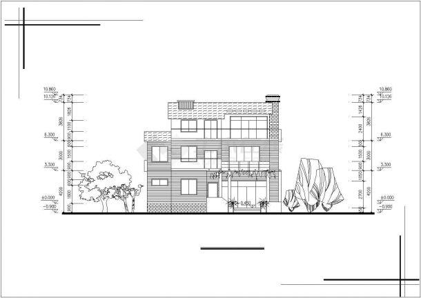 昆山市某现代村镇3层砖混结构单体乡村别墅建筑设计CAD图纸(2套方案)-图二