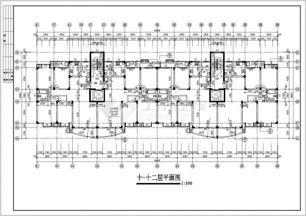 合肥鼎阳家园小区12层框架结构住宅楼建筑设计CAD图纸(含天面和架空层)-图一